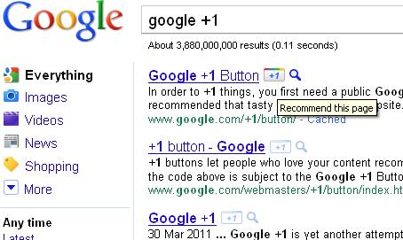 כפתור פלוס 1 בתוצאות החיפוש של גוגל