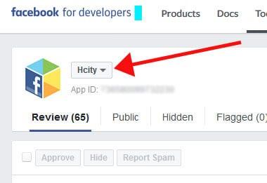 בחירת אתר בכלי מנהל התגובות של פייסבוק